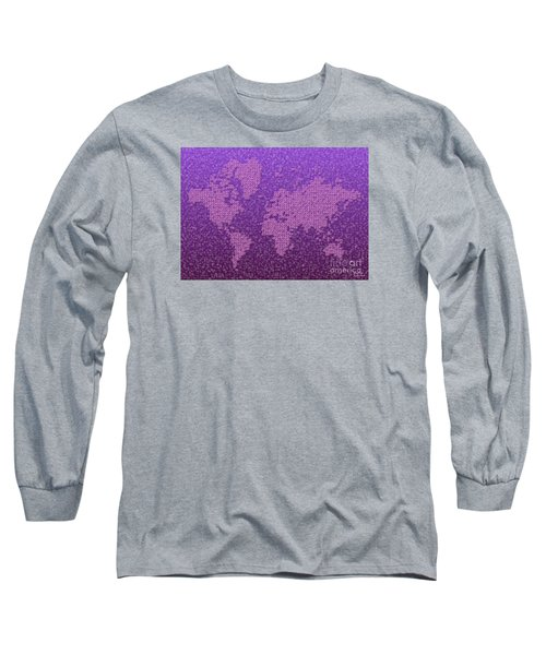 World Map Kotak In Purple Long Sleeve T-Shirt
