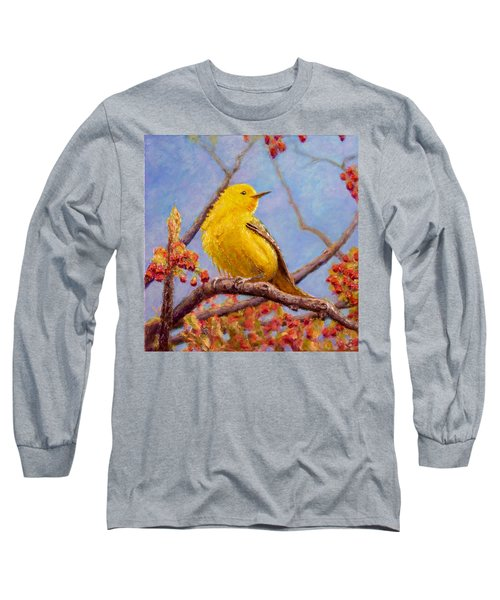 Long Sleeve T-Shirt featuring the painting Yellow Warbler by Joe Bergholm