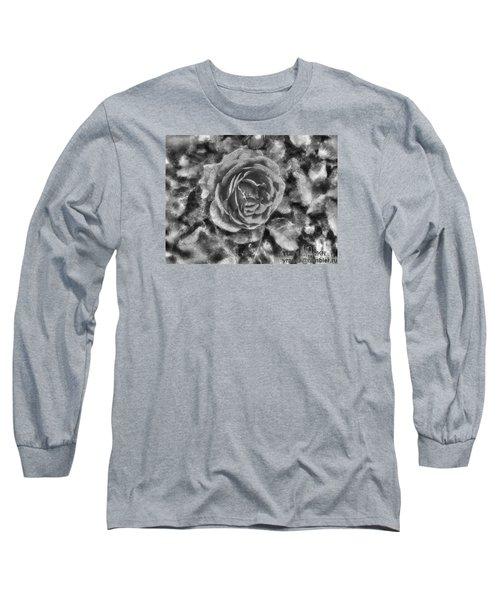 Long Sleeve T-Shirt featuring the pyrography Yury Bashkin Black Rose by Yury Bashkin