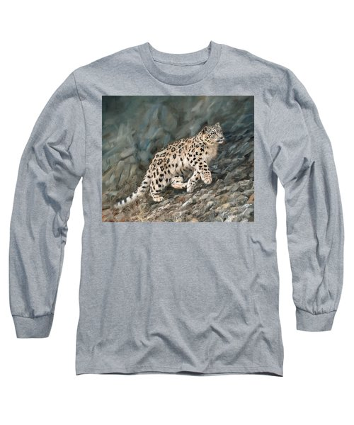 Long Sleeve T-Shirt featuring the painting Snow Leopard by David Stribbling