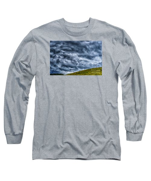 Three Crosses On Hill Long Sleeve T-Shirt by Thomas R Fletcher