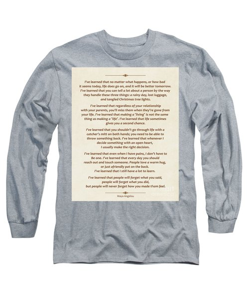 101-  Maya Angelou Long Sleeve T-Shirt by Joseph Keane