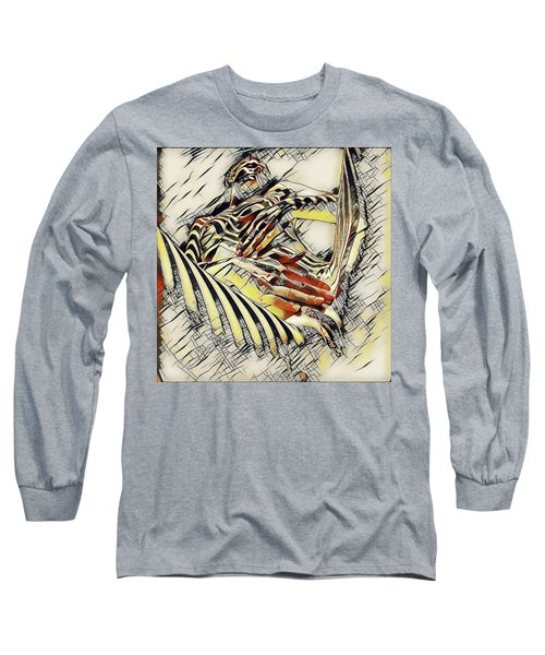 1177s-ak Abstract Nude Her Fingers On Pubis Erotica In The Style Of Kandinsky Long Sleeve T-Shirt by Chris Maher