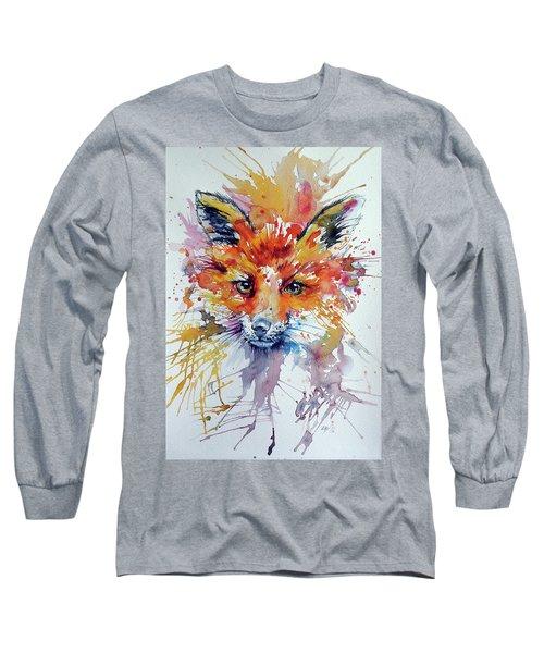 Red Fox Long Sleeve T-Shirt by Kovacs Anna Brigitta