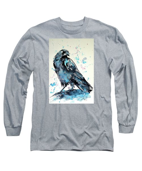 Crow Long Sleeve T-Shirt by Kovacs Anna Brigitta