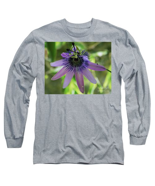 Purple Passiflora Long Sleeve T-Shirt by Elvira Ladocki