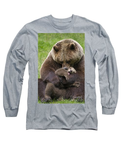 Mother Bear Cuddling Cub Long Sleeve T-Shirt by Arterra Picture Library
