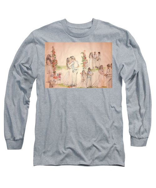 Long Sleeve T-Shirt featuring the painting The Wedding Album  by Debbi Saccomanno Chan