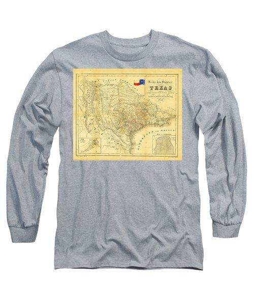 1849 Texas Map Long Sleeve T-Shirt