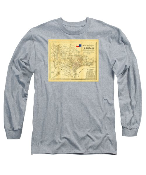 Long Sleeve T-Shirt featuring the photograph 1849 Texas Map by Bill Cannon