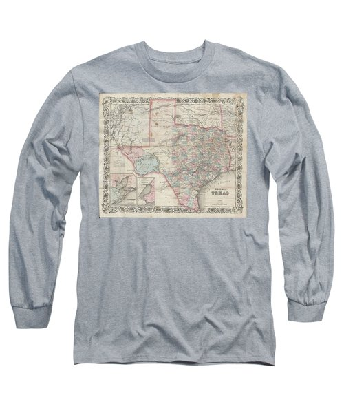 1870 Colton Pocket Map Of Texas Long Sleeve T-Shirt