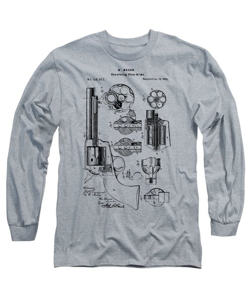 1875 Colt Peacemaker Revolver Patent Vintage Long Sleeve T-Shirt by Nikki Marie Smith