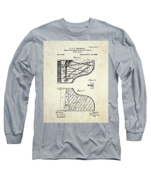 1880 Steinway Piano Forte Patent Art Sheet 1  Long Sleeve T-Shirt by Gary Bodnar