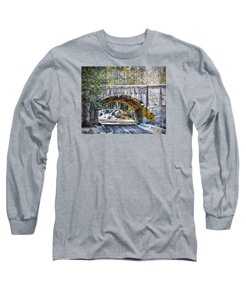 1909 Country Backroad Train Overpass Long Sleeve T-Shirt by Rena Trepanier