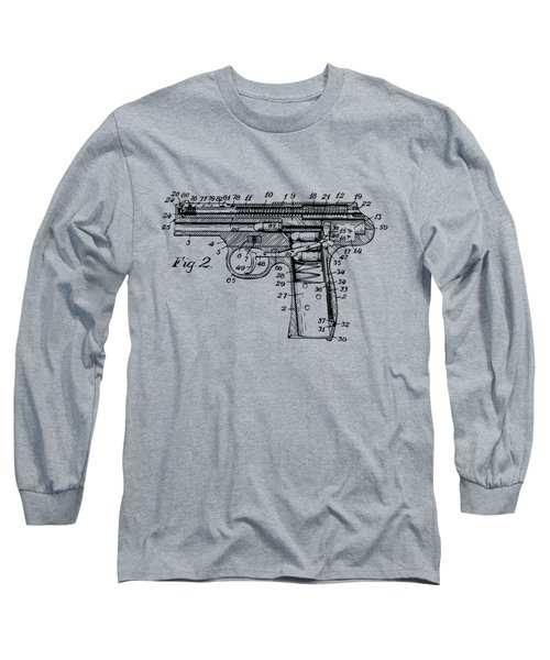 1911 Automatic Firearm Patent Minimal - Vintage Long Sleeve T-Shirt