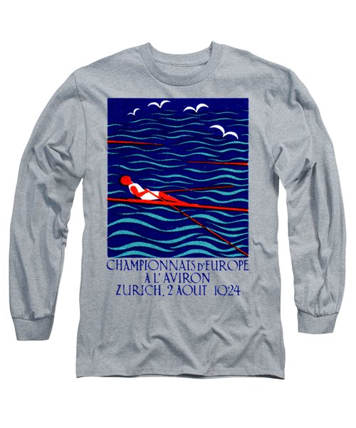 1924 Zurich Rowing Poster Long Sleeve T-Shirt