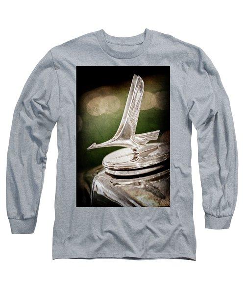 Long Sleeve T-Shirt featuring the photograph 1932 Studebaker Dictator Hood Ornament -0850ac by Jill Reger