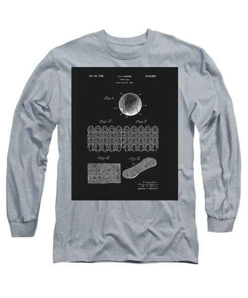 Long Sleeve T-Shirt featuring the mixed media 1935 Tennis Ball Patent by Dan Sproul