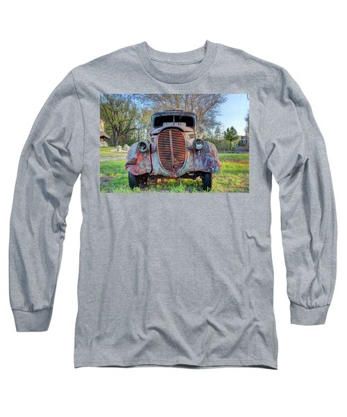 1936 Model 511 1/2 Ton Stakebed Farm Truck Near Charlevoix, Mic Long Sleeve T-Shirt by Peter Ciro