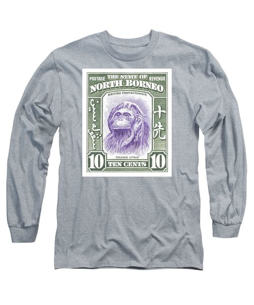 1939 North Borneo Orangutan Stamp Long Sleeve T-Shirt