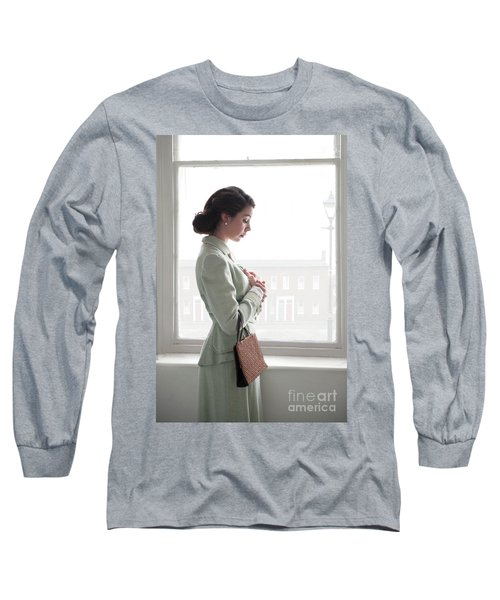 1940s Woman At The Window Long Sleeve T-Shirt by Lee Avison