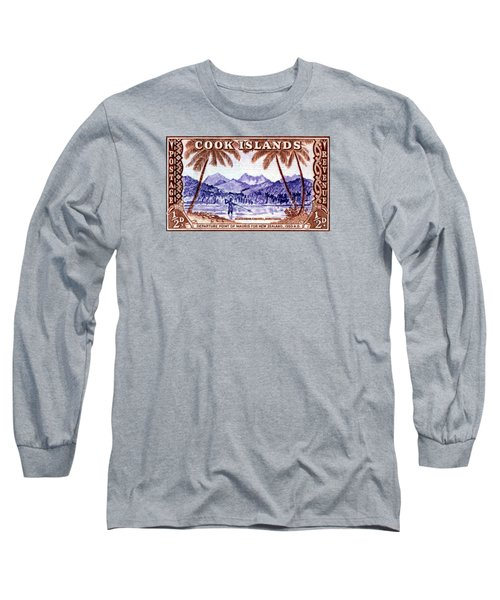 Long Sleeve T-Shirt featuring the painting 1949 Native Fishing, Cook Islands by Historic Image