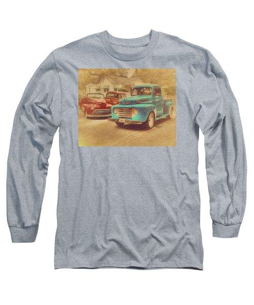 1950 Ford Truck Classic Cars - Homecoming Long Sleeve T-Shirt by Rebecca Korpita