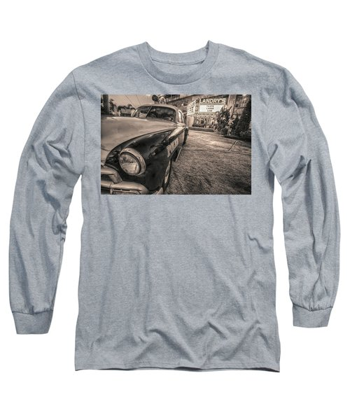Long Sleeve T-Shirt featuring the tapestry - textile 1952 Chevy Black And White by Kathy Adams Clark