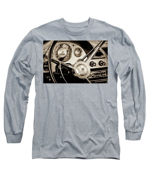 Long Sleeve T-Shirt featuring the photograph 1956 Ford Victoria Steering Wheel -0461s by Jill Reger