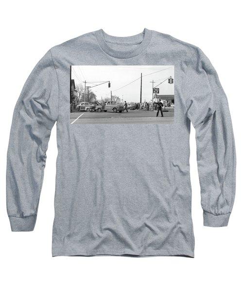 1957 Car Accident Long Sleeve T-Shirt by Paul Seymour