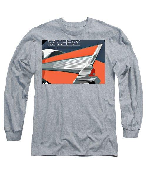 1957 Chevy Art Design By John Foster Dyess Long Sleeve T-Shirt