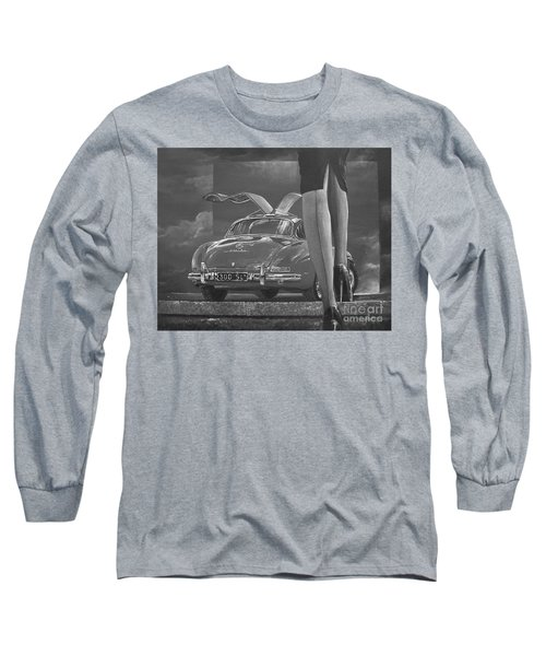 1957 Mercedes Benz 300 Sl Gullwing Coupe In Black And White Long Sleeve T-Shirt
