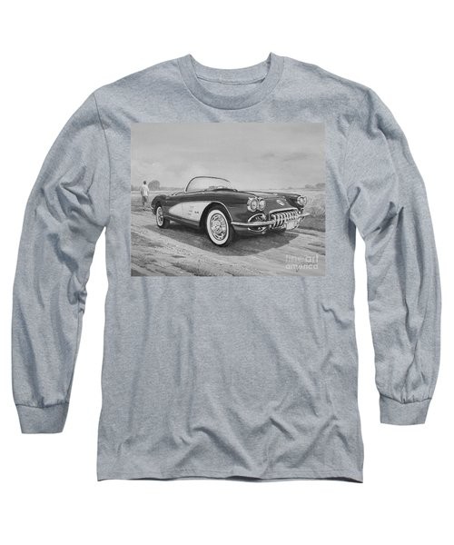 1959 Chevrolet Corvette Cabriolet In Black And White Long Sleeve T-Shirt