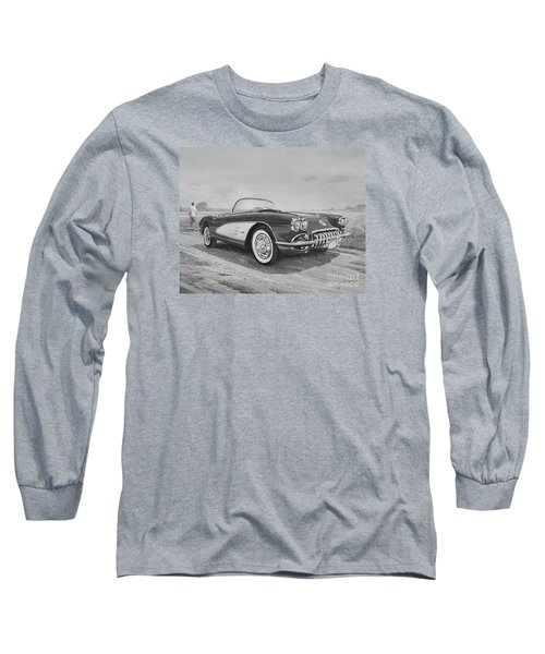 1959 Chevrolet Corvette Cabriolet In Black And White Long Sleeve T-Shirt