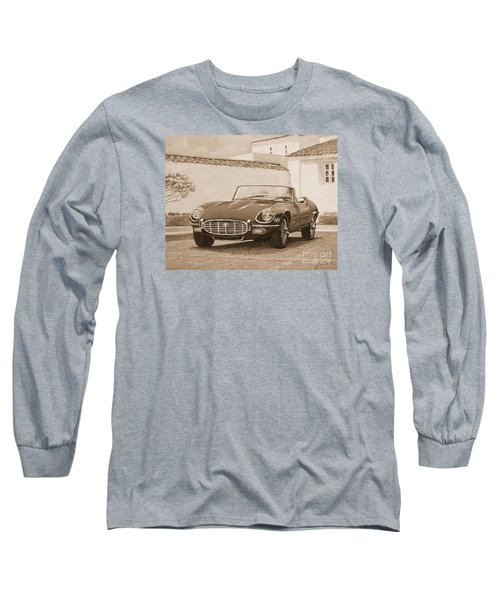 1961 Jaguar Xke Cabriolet In Sepia Long Sleeve T-Shirt