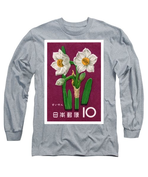 1961 Japan Narcissus Postage Stamp Long Sleeve T-Shirt