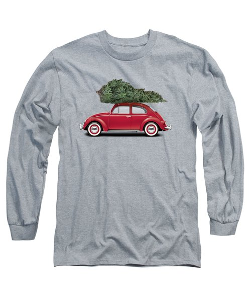 1962 Volkswagen Deluxe Sedan - Ruby Red W/ Christmas Tree Long Sleeve T-Shirt by Ed Jackson