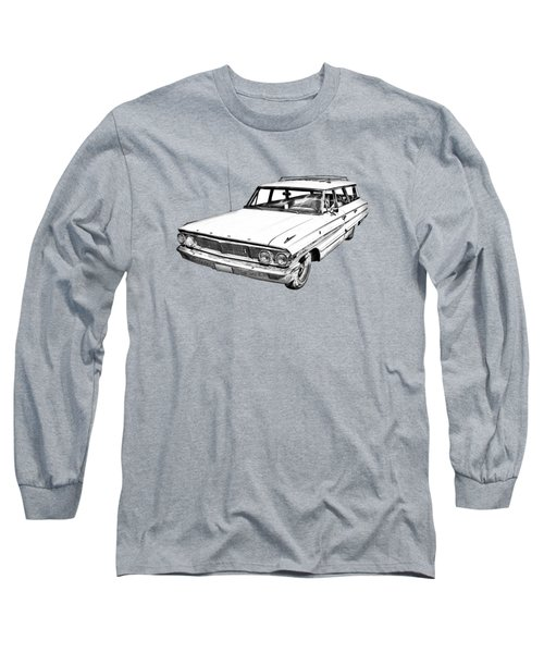 1964 Ford Galaxy Country Stationwagon Illustration Long Sleeve T-Shirt