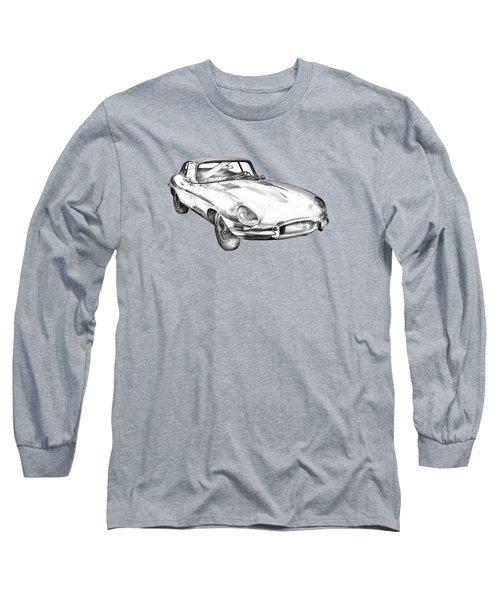 1964 Jaguar Xke Antique Sportscar Illustration Long Sleeve T-Shirt by Keith Webber Jr