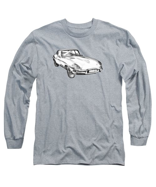 1964 Jaguar Xke Antique Sportscar Illustration Long Sleeve T-Shirt