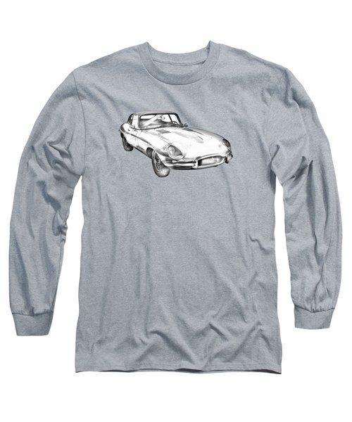 1964 Jaguar Xke Antique Sportscar Illustration Long Sleeve T-Shirt