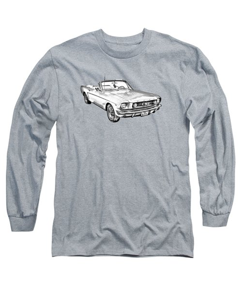 1965 Red Ford Mustang Convertible Drawing Long Sleeve T-Shirt by Keith Webber Jr