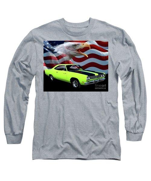 1969 Plymouth Road Runner Tribute Long Sleeve T-Shirt by Peter Piatt
