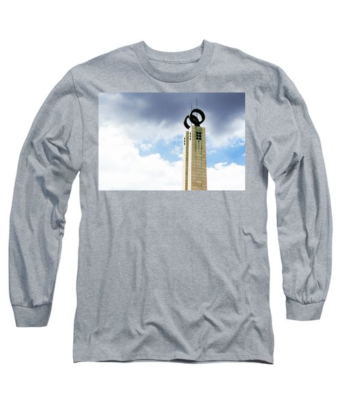 Long Sleeve T-Shirt featuring the photograph 1974 Revolution Memorial Wrapped In Clouds by Lorraine Devon Wilke