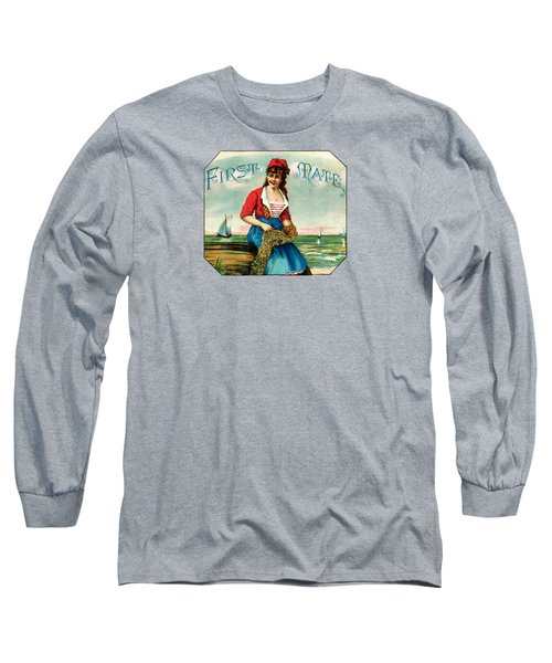 19th C. First Mate Cigars Long Sleeve T-Shirt by Historic Image