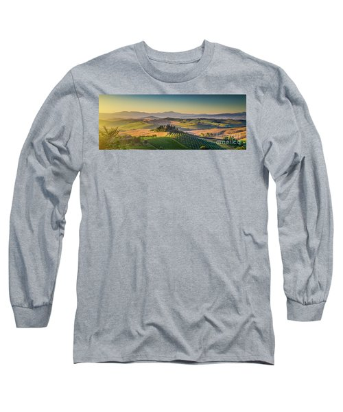 A Golden Morning In Tuscany Long Sleeve T-Shirt by JR Photography