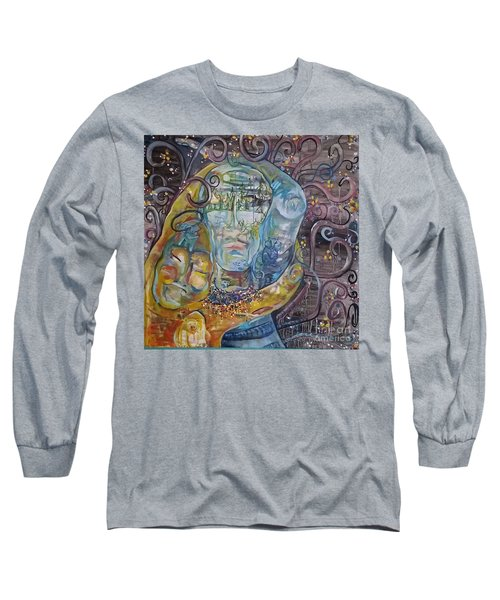 Long Sleeve T-Shirt featuring the painting 2 Angels Hugging Environmental Warrior Goddess by Carol Rashawnna Williams