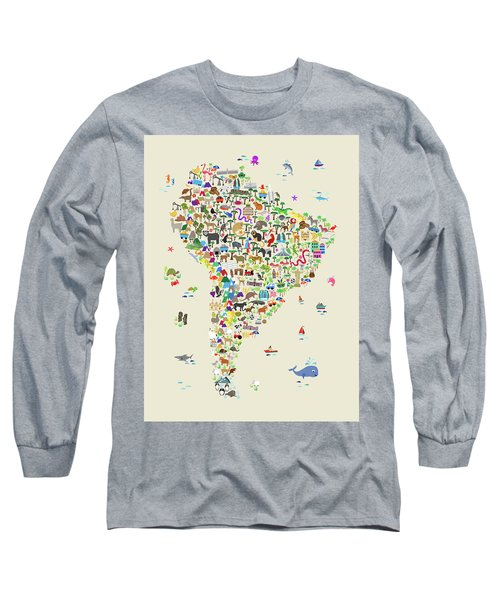 Animal Map Of South America For Children And Kids Long Sleeve T-Shirt