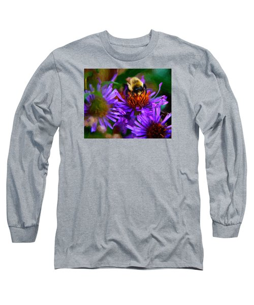 Bee On Purple Flower Long Sleeve T-Shirt by Andre Faubert