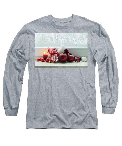 Christmas Windowsill Long Sleeve T-Shirt by Anastasy Yarmolovich